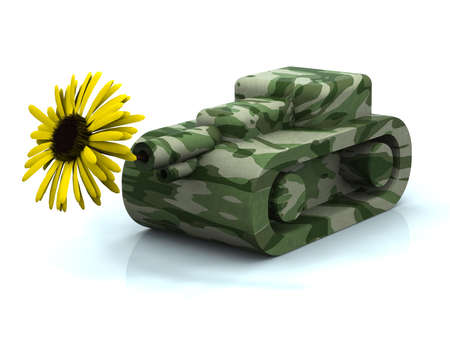 mimetic toy tank firing yellow sunflower, concept peace photo