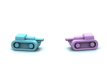 two plastic toy tank, concept couple conflict, 3d illustration illustration