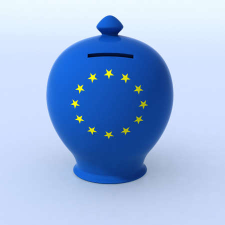 ceramic money box with European flag, 3d illustration illustration