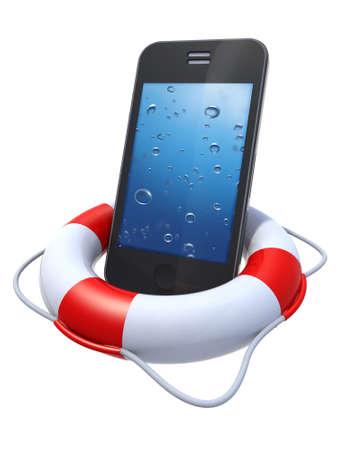 smartphone met onderwater luchtbel op het scherm, in een reddingsboei op witte achtergrond Stockfoto