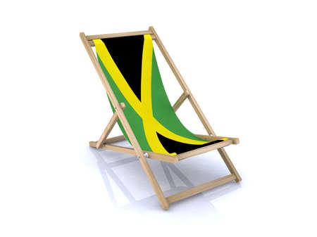 jamaican flag: wood beach chair with jamaican flag 3d illustration