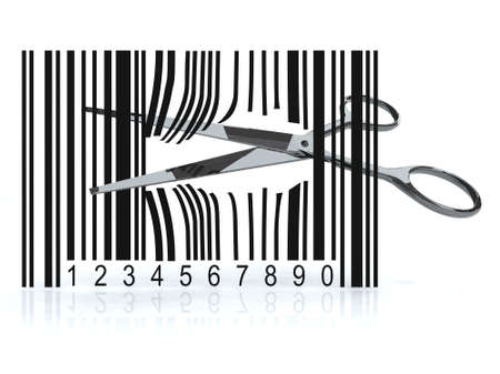 Bar code with 3d scissors that cut, on white background photo
