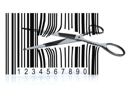 barcode: Bar code with 3d scissors that cut, on white background Stock Photo