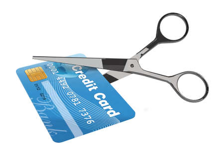 destroy: scissors cutting credit card on white background, 3d illustration  Stock Photo