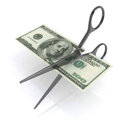 price cutting: scissors cutting dollar on white background, 3d illustration