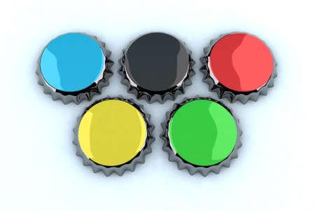 olympic rings: metal cap forming Olympic rings, 3d illustration