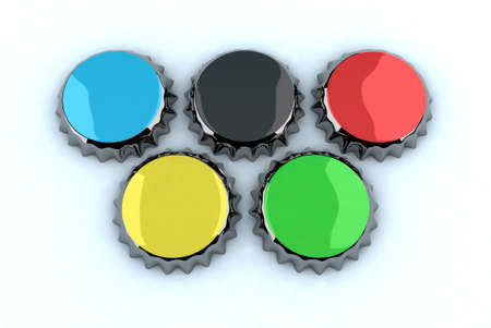 deportes olimpicos: tapa de metal que forma anillos olímpicos, ilustración 3d