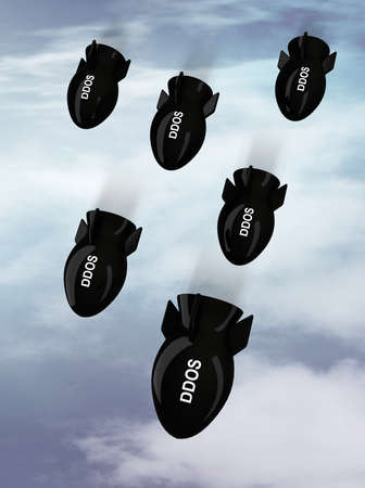 ddos: bombs falling from the sky with written ddos, 3d illustration