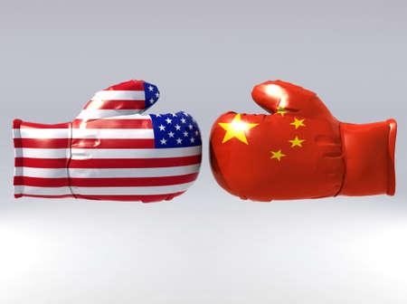 Bokshandschoenen met de VS en China vlag, 3d illustratie Stockfoto