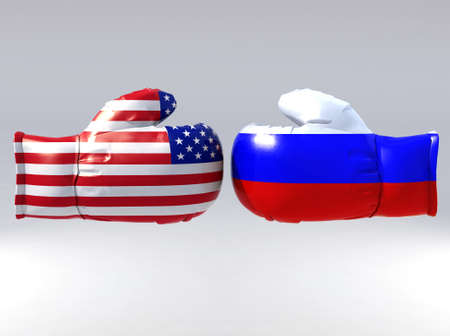 Boxing gloves with Usa and Russia flag, 3d illustration illustration
