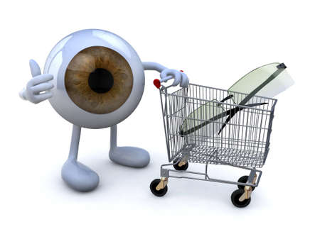biometrics: eye with arms and legs and shopping cart with eyeglasses, 3d illustration