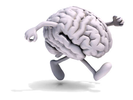 neuro: human brain with arms and legs running, 3d illustration
