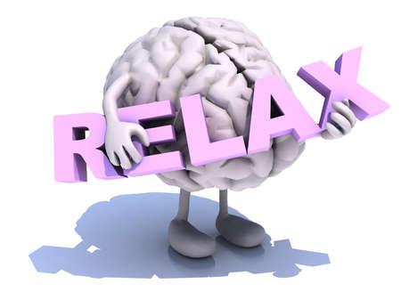 """menselijk brein met kunst, dat een woord """"relax"""" omvat, 3d illustratie"""