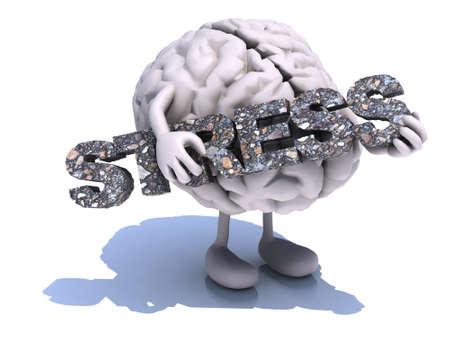 menselijk brein met kunst die een woord (stress) omarmt, 3d illustratie