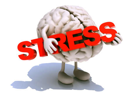 tired cartoon: human brain with arts that embraces a word stress, 3d illustration Stock Photo