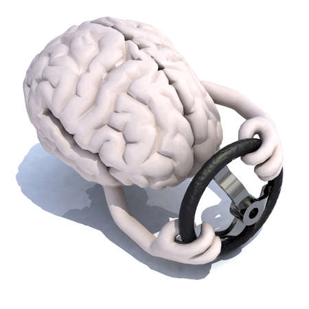 steering: human brain with arms and steering wheel car, 3d illustration