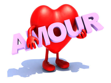 fillings: heart with arts that embraces a word (amour) 3d illustration
