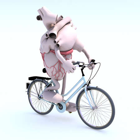 bycicle: human heart with arms and legs riding a bycicle, 3d illustration Stock Photo