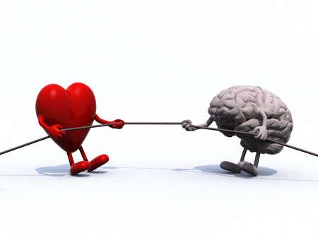 tug o war: coraz�n y cerebro tir�n de la cuerda de la guerra, ilustraci�n 3d