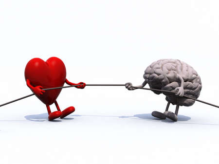 doubting: heart and brain tug of war rope, 3d illustration