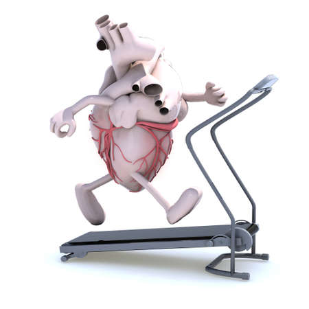 human heart with arms and legs on a running machine, 3d illustration Stock Illustration - 16903737