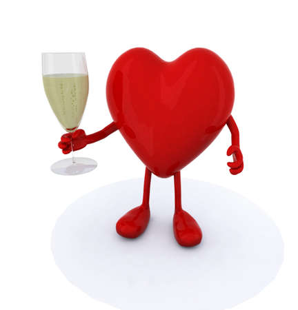 glasse: heart make cheers with glasse of white wine, 3d illustration