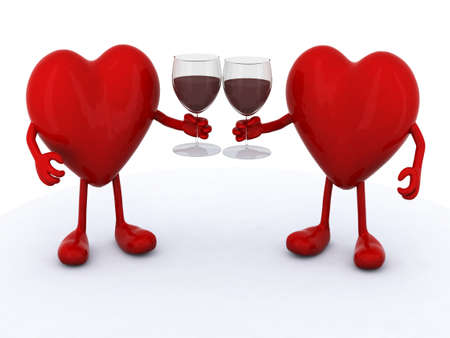 cheers: two red hearts with arms and legs make cheers with glasses of red wine