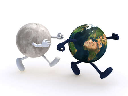 the moon running towards the planet earth, 3d illustration Stock Illustration - 16903888