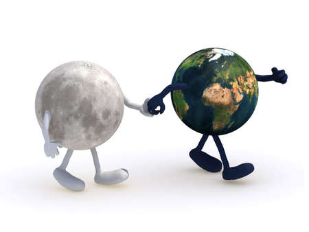 cartoon world: the moon walk with planet earth, 3d illustration