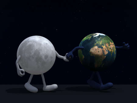the moon walk with planet earth on a starry sky, 3d illustration Stock Illustration - 16903838