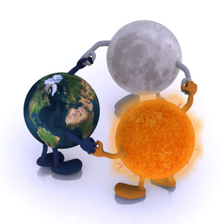 the world, the sun and the moon are round dance, 3d illustration illustration