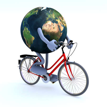 bycicle: Planet earth with arms and legs riding a bycicle, 3d illustration
