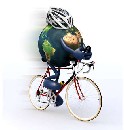 bycicle: Planet earth with arms and legs riding a racing bike, 3d illustration