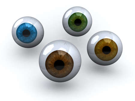 cornea: four eyeball with different colors, 3d illustration Stock Photo
