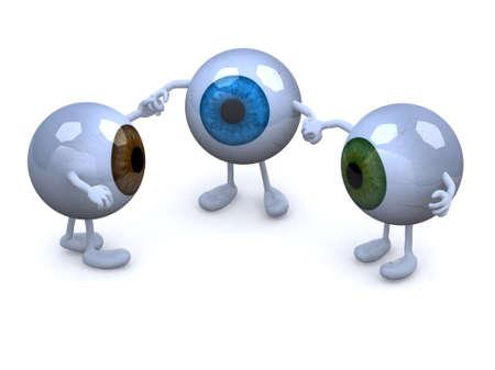 drie oogappel met armen en benen in verschillende kleuren die handen, 3d illustratie