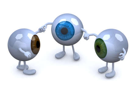 three eyeball with arms and legs in different colors holding hands, 3d illustration illustration