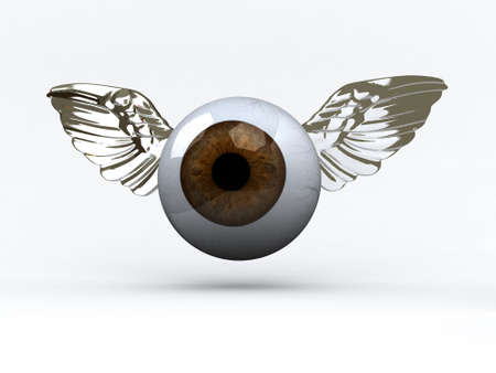 eye with wings that fly, 3d illustration Stock Illustration - 16903839