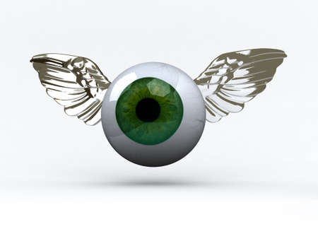 cornea: eye with wings that fly, 3d illustration Stock Photo