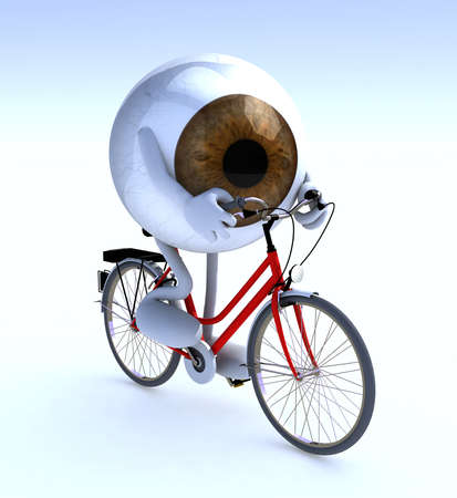 bycicle: eye with arms and legs riding a bycicle, 3d illustration Stock Photo
