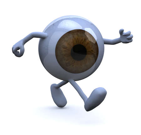 three hands:  eye with arms and legs walking, 3d illustration