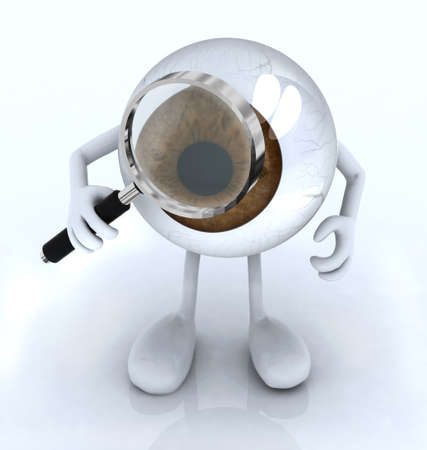 big eye with his arms and legs with a magnifying glass, 3d illustration Standard-Bild