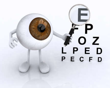 diopter: 3d eye with arms and legs showing with a magnifying glass the letters of the table optometric Stock Photo