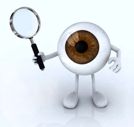 big eye with his arms and legs with a magnifying glass, 3d illustration illustration