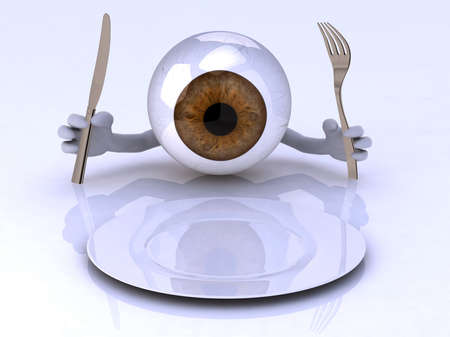 Big eye with hands and utensils in front of an empty plate, 3d illustration illustration