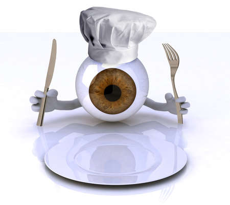 big eye with hands and utensils and chef hat in front of an empty plate, 3d illustration illustration