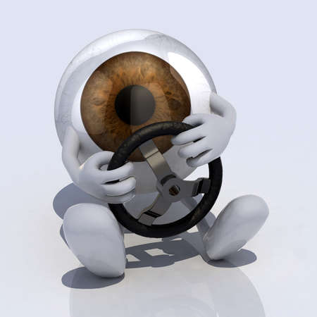 cartoon safety: eye with arms and steering wheel car, 3d illustration