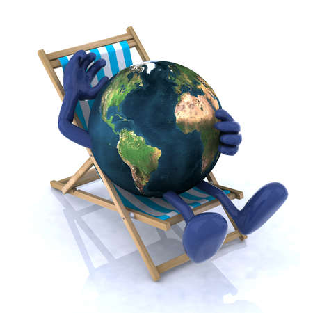 holidays vacancy: the world relaxing on a beach chair, 3d illustration