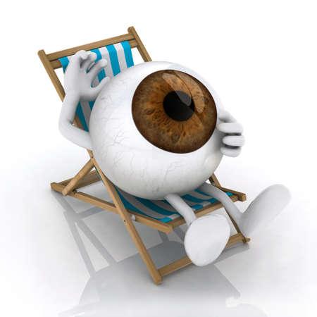 silla playa: el gran ojo con los brazos y las piernas acostado en silla de playa, ilustraci�n 3d