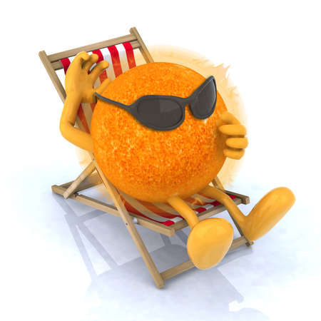 glass break: the sun with sunglasses lying on beach chair, 3d illustration