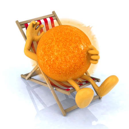 holidays vacancy: the sun with arms and legs lying on beach chair, 3d illustration Stock Photo
